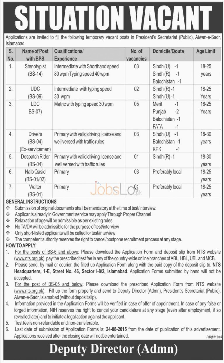 President Secretariat Islamabad NTS Jobs August 2015 Application Form