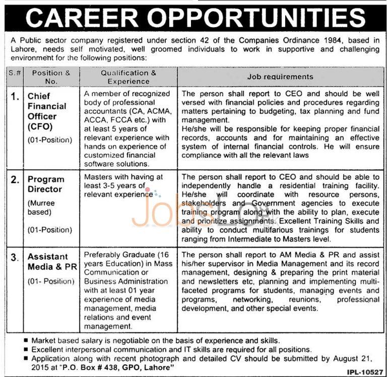 Public Sector Organization Lahore Jobs 2015 August Advertisement