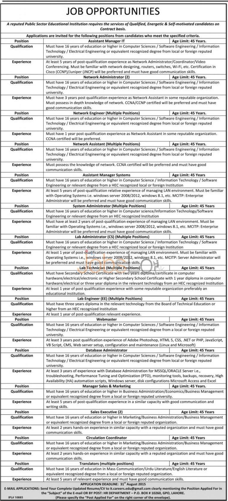 Public Sector Educational Institution Jobs 2015 Lahore Pakistan