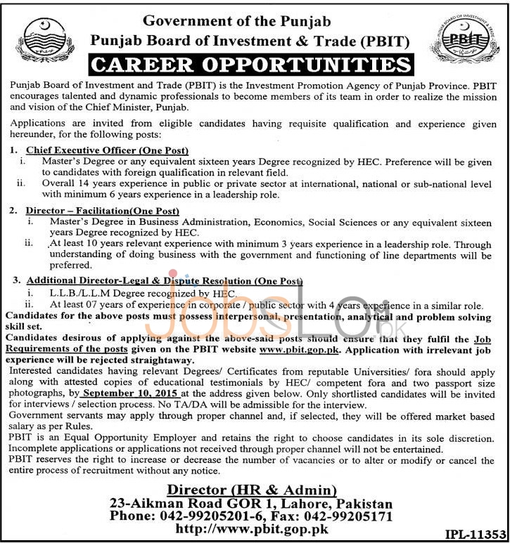 Punjab Board of Investment & Trade PBIT Lahore Job Opportunities 2015