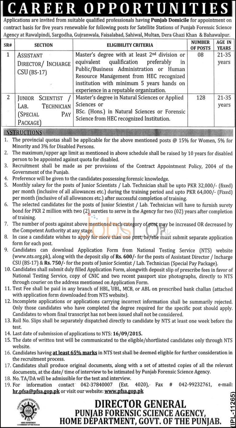 Punjab Forensic Science Agency NTS Jobs August 2015 Junior Scientist / Lab Technician