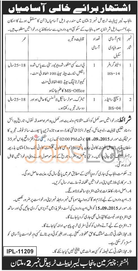 Punjab Labour Appellate Tribunal Multan Jobs