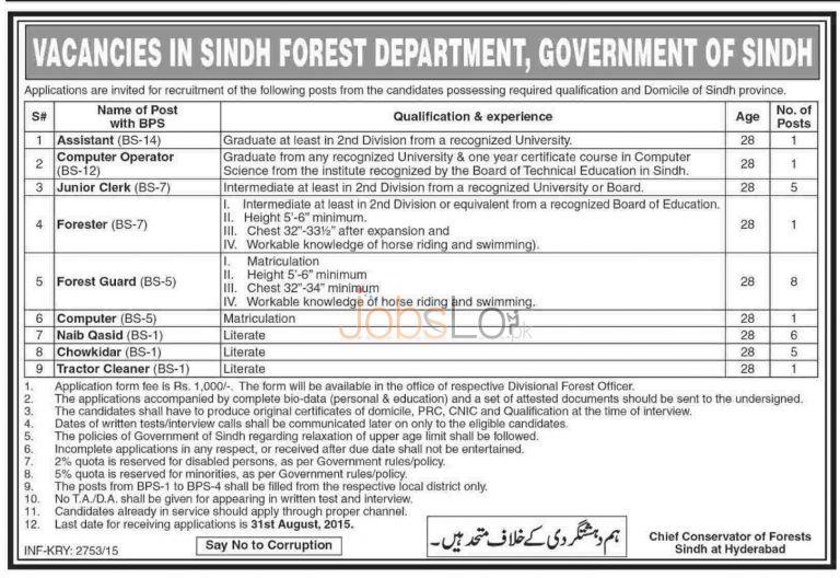 Forest Department Sindh August Jobs 2015 Latest Advertisement