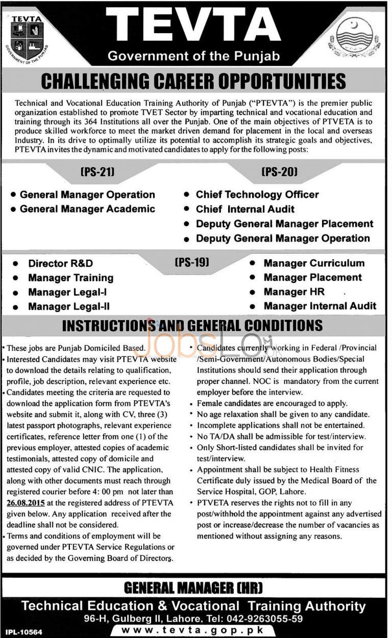 TEVTA Punjab Jobs August 2015 Career Opportunities & Last Date