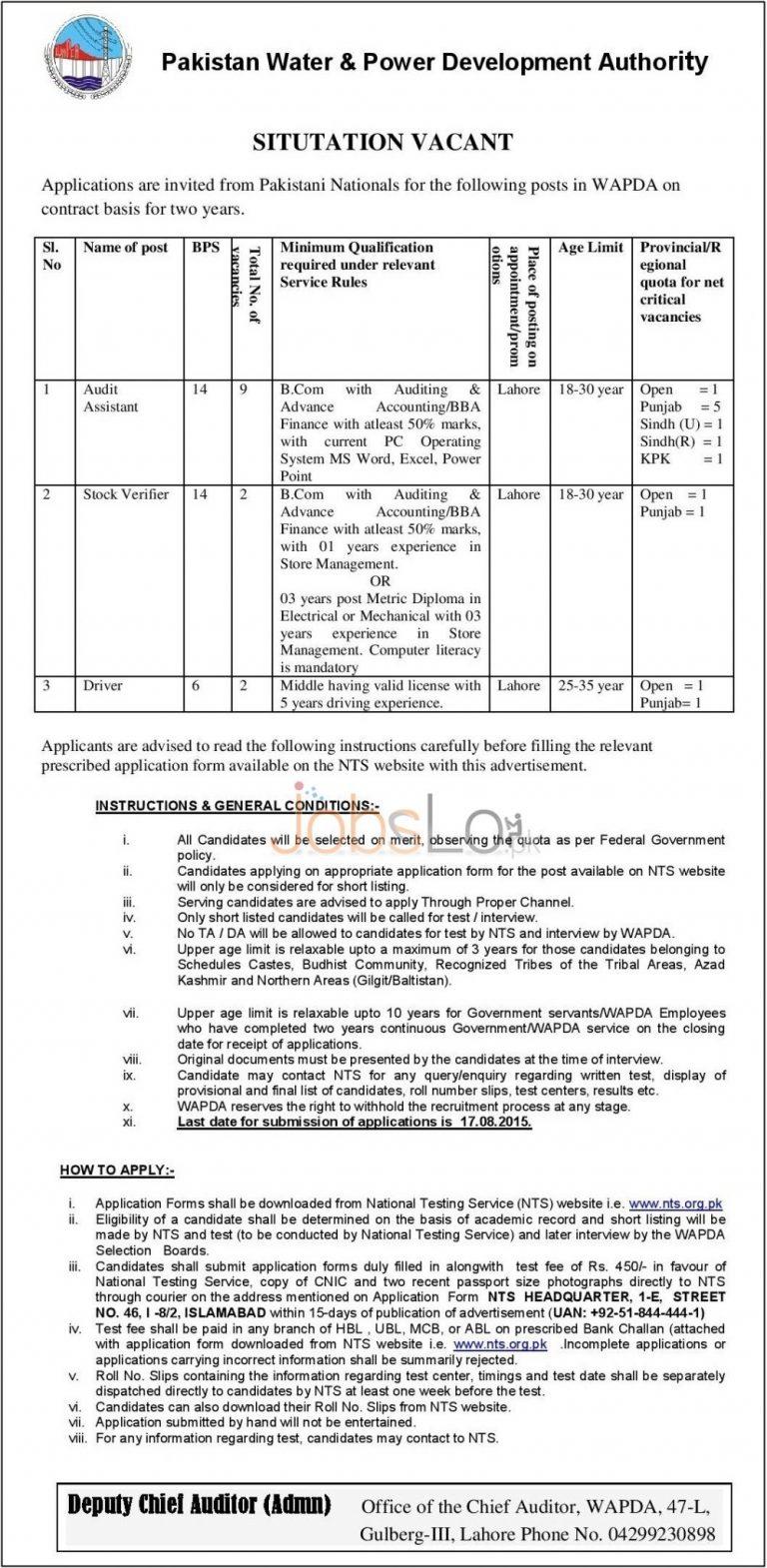WAPDA NTS Jobs August 2015 Application Form for Audit Assistant, Stock Verifier & Driver
