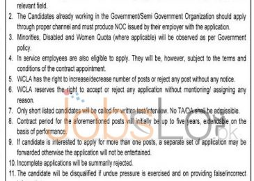 Walled City Lahore Authority NTS Jobs August 2015 Application Form