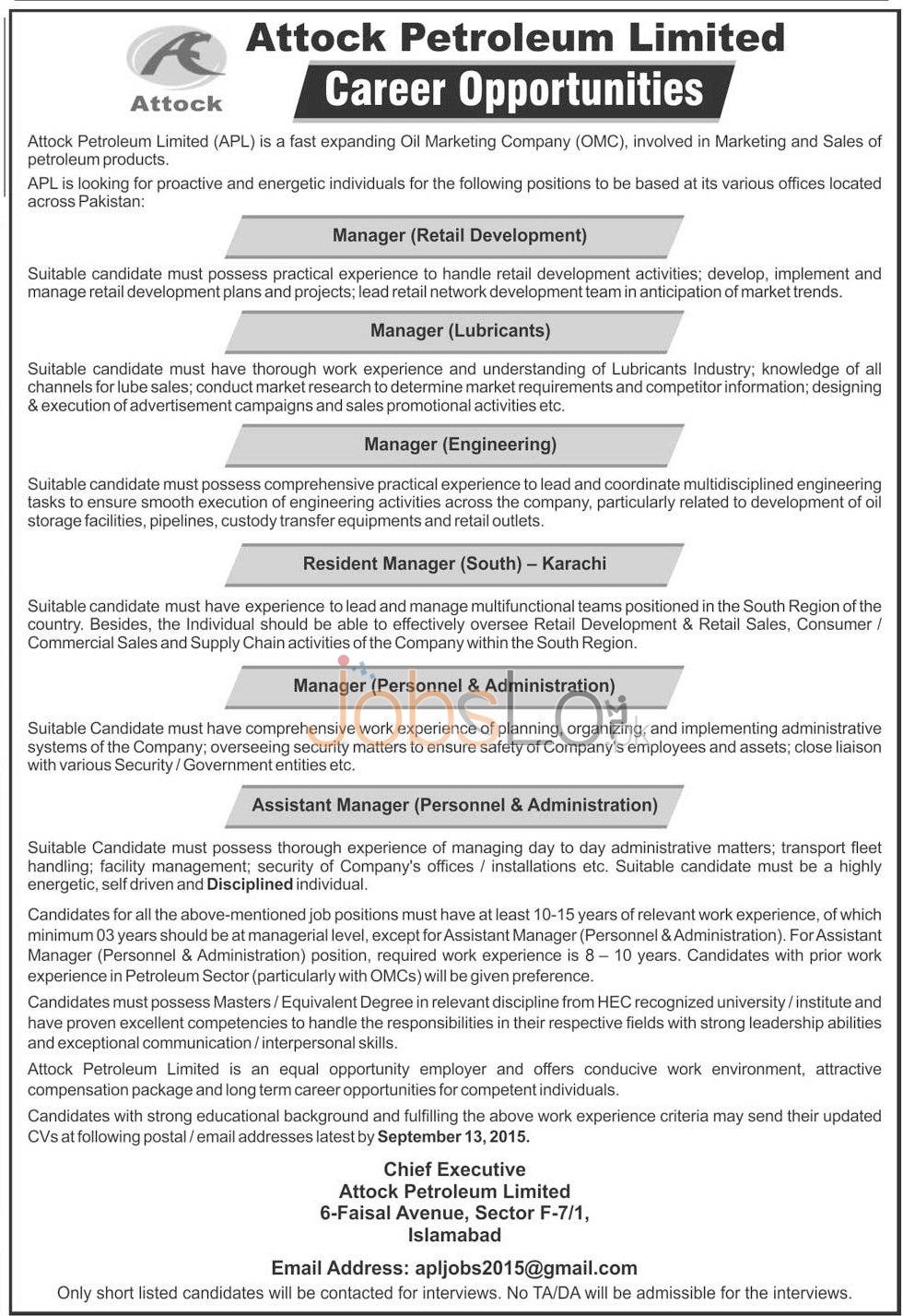 Attock Petroleum Jobs