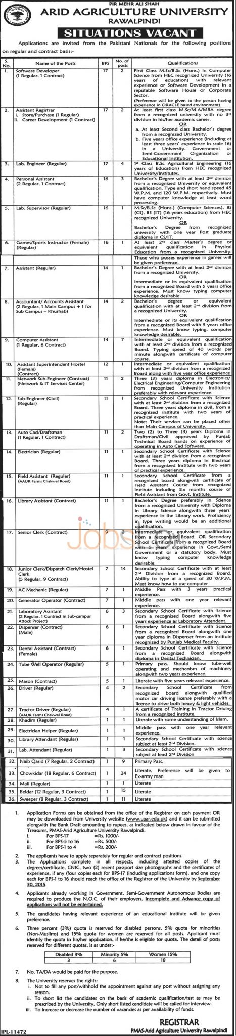 Arid Agriculture University Rawalpindi Job Opportunities 2015 Application Form