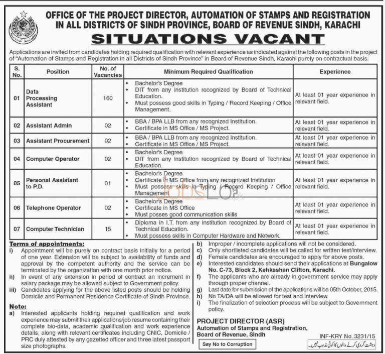 Sindh Board of Revenue Jobs 2015 for Data Processing Assistant & Computer Technician