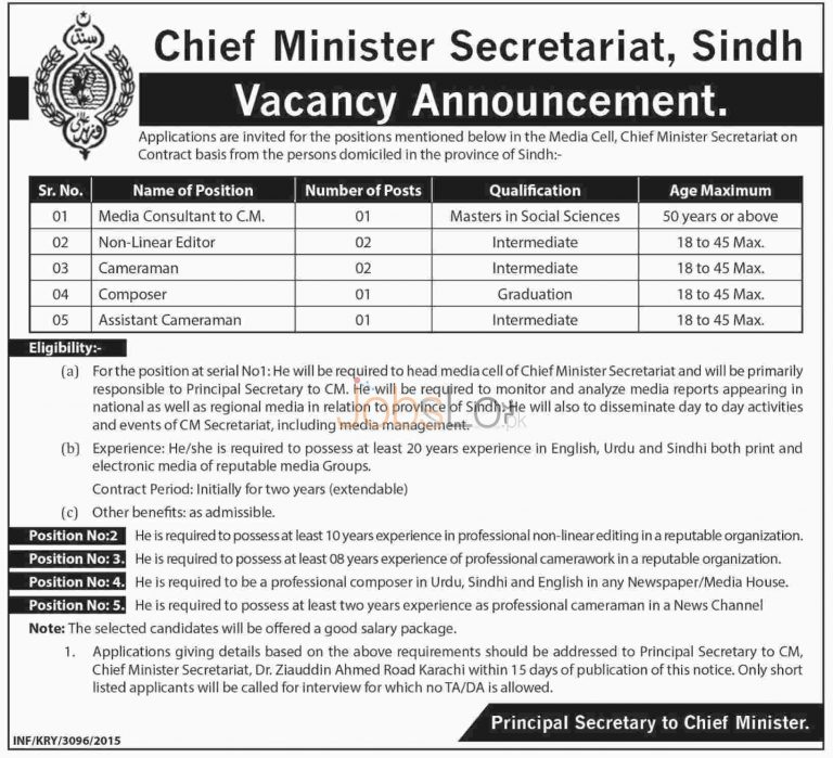 Chief Minister's Secretariat Sindh Jobs 2015 Employment Opportunities