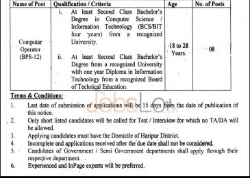 Deputy Commissioner Office Haripur Jobs 2015 for Computer Operator