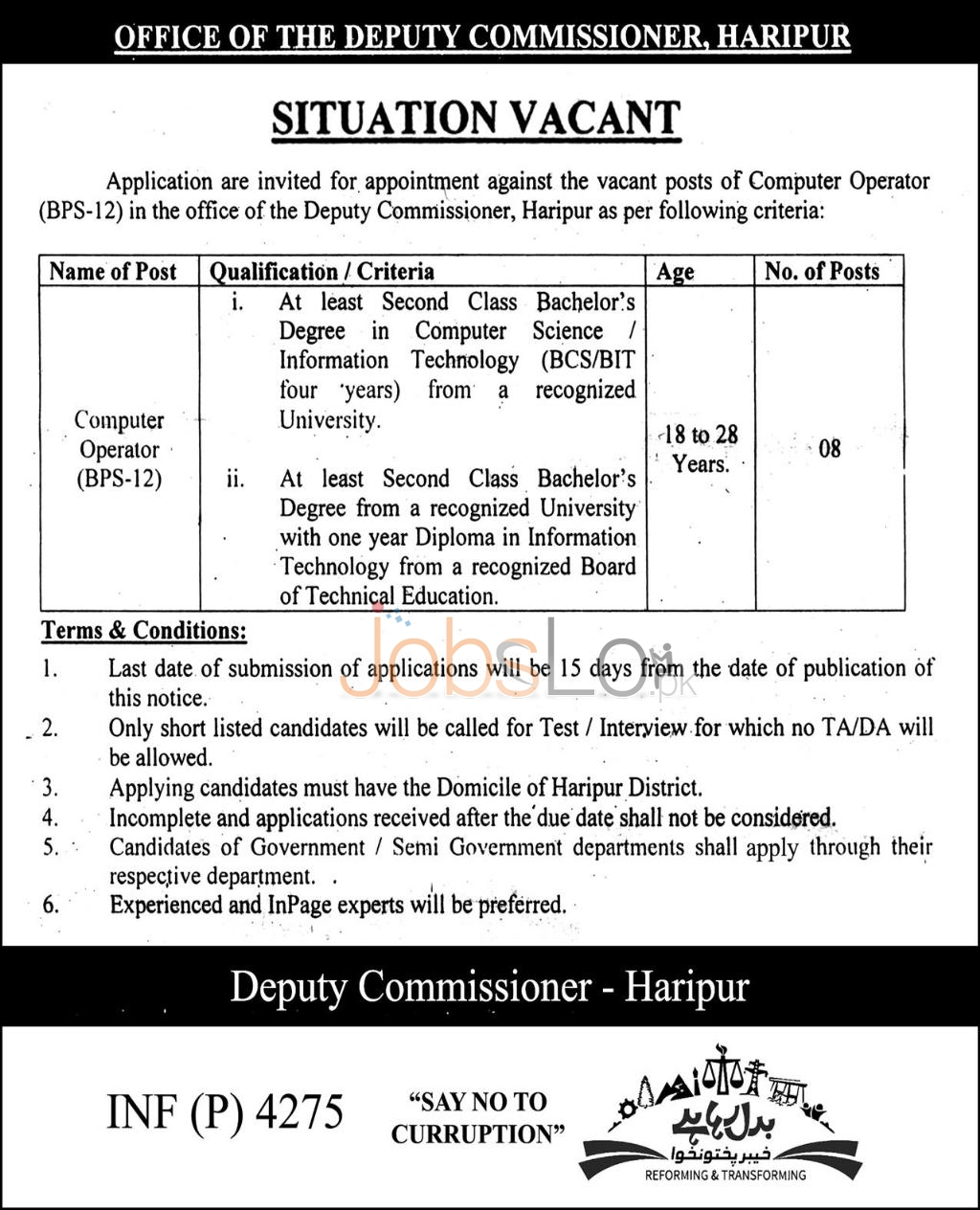 Deputy Commissioner Office Haripur Jobs