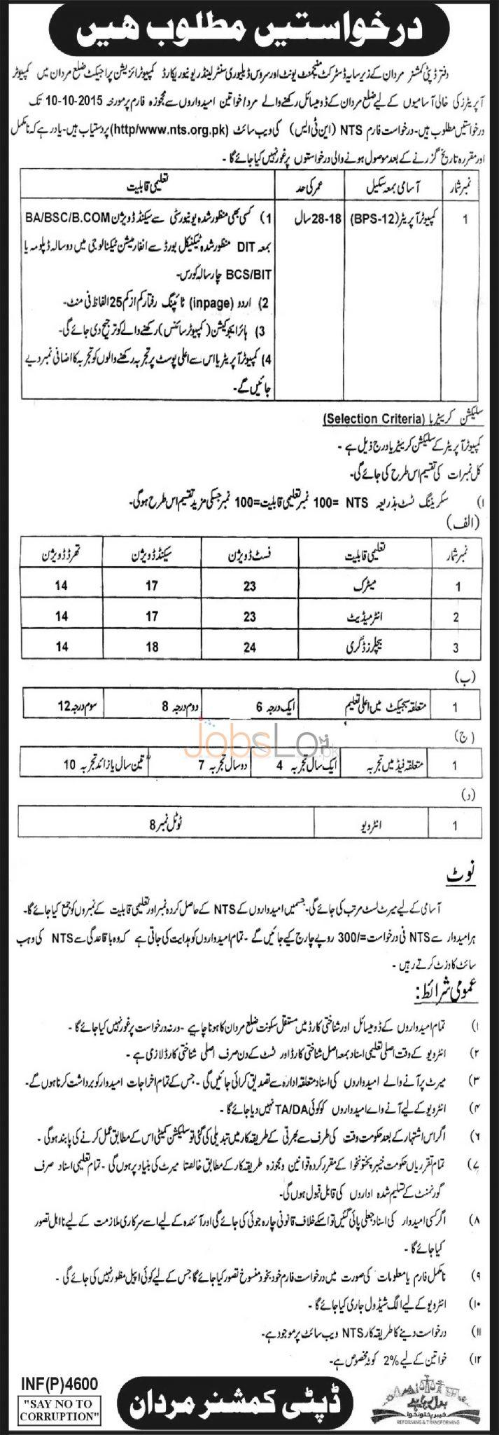 Deputy Commissioner Office Mardan Jobs