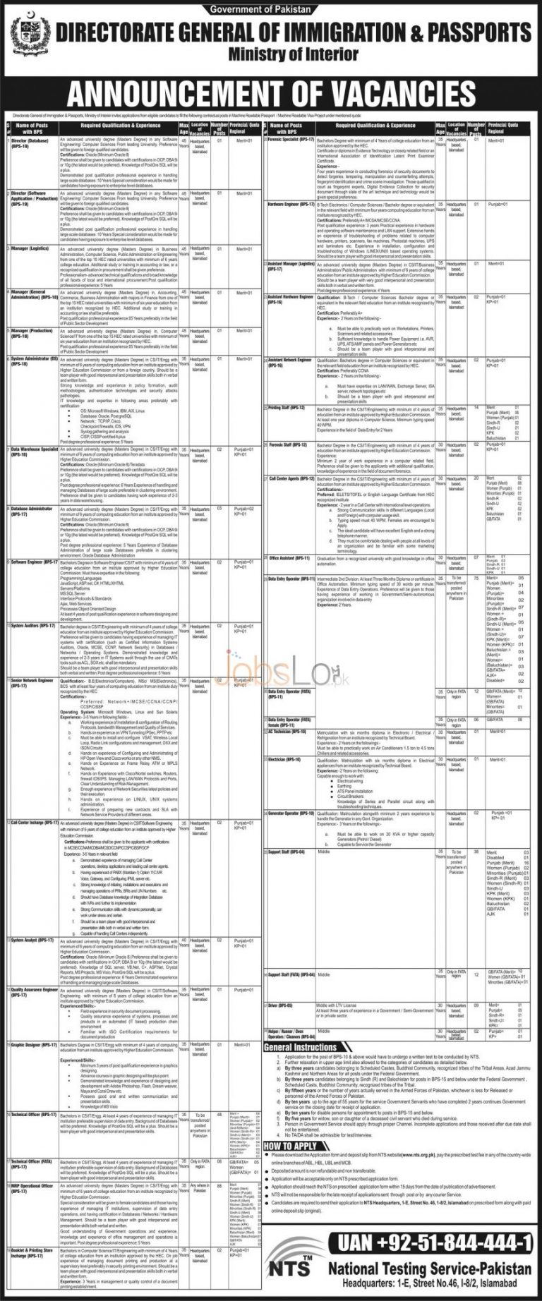 Directorate General of Immigration & Passports Jobs 2015 NTS Application Form