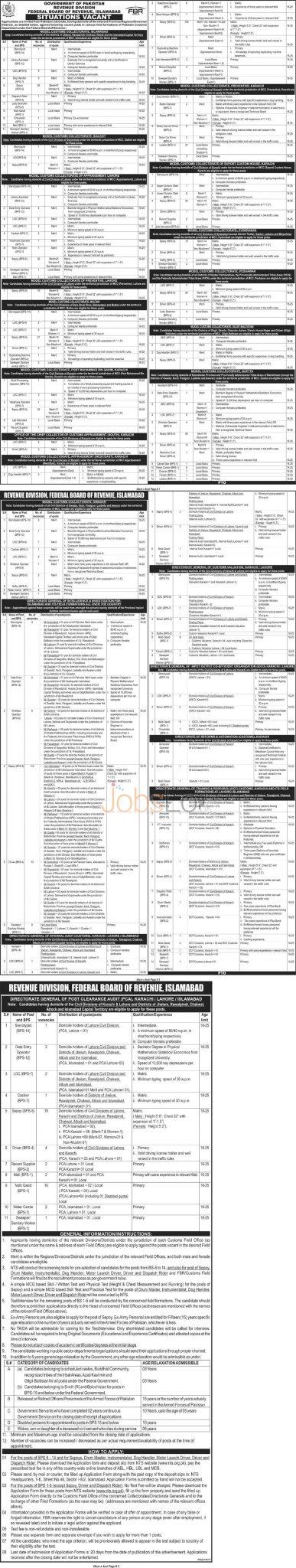 NTS FBR Jobs September 2015 Application Form Federal Board Revenue
