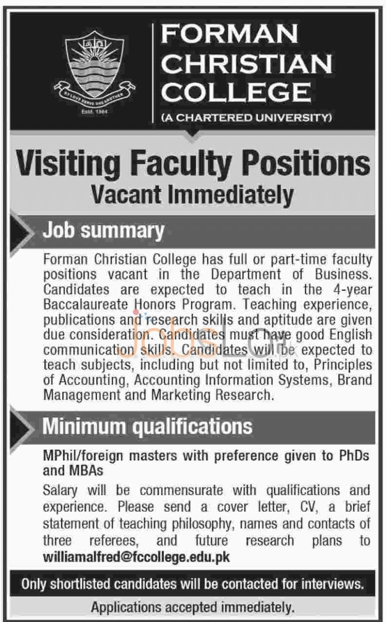 FC College Lahore Jobs 2015 Visiting Faculty Staff Apply Online