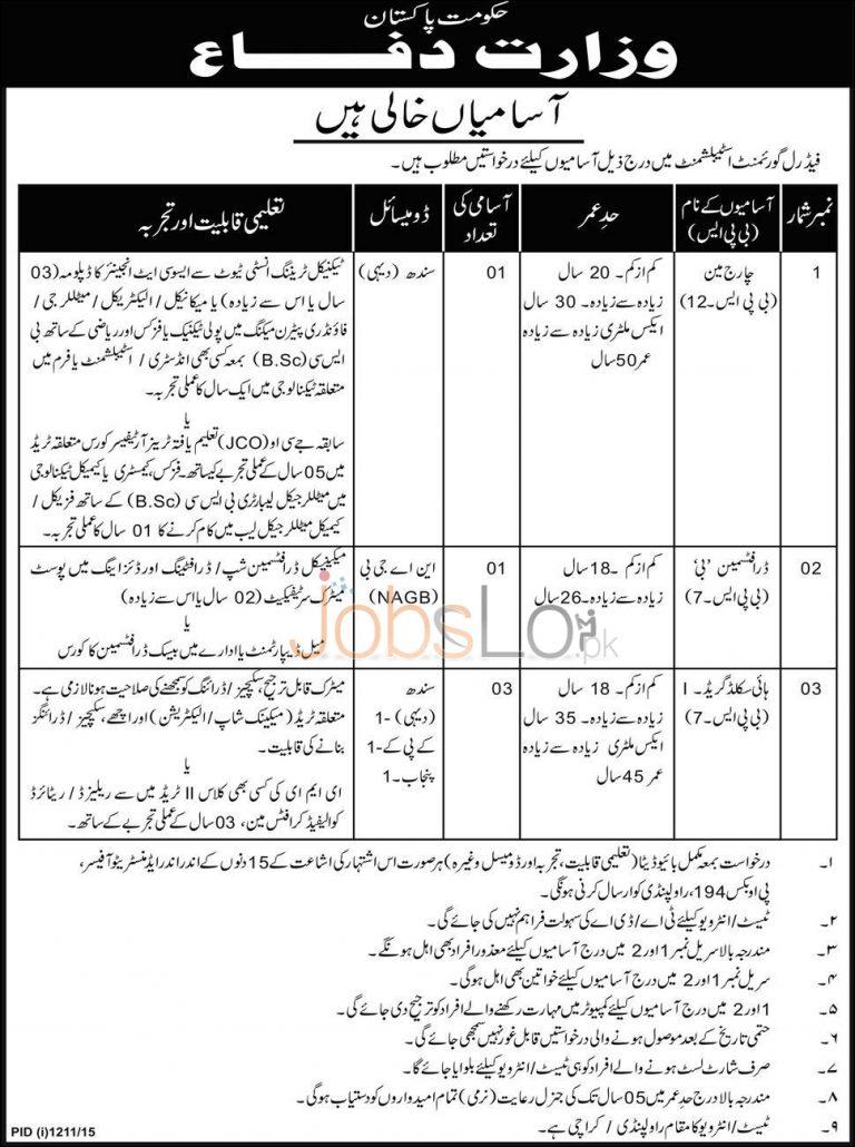 Ministry of Defence Pakistan Job Opportunities Rawalpindi 2015 Punjab Sindh KPK