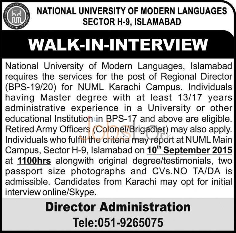 NUML University Islamabad Jobs 2015 for Regional Director Walk-in Interview
