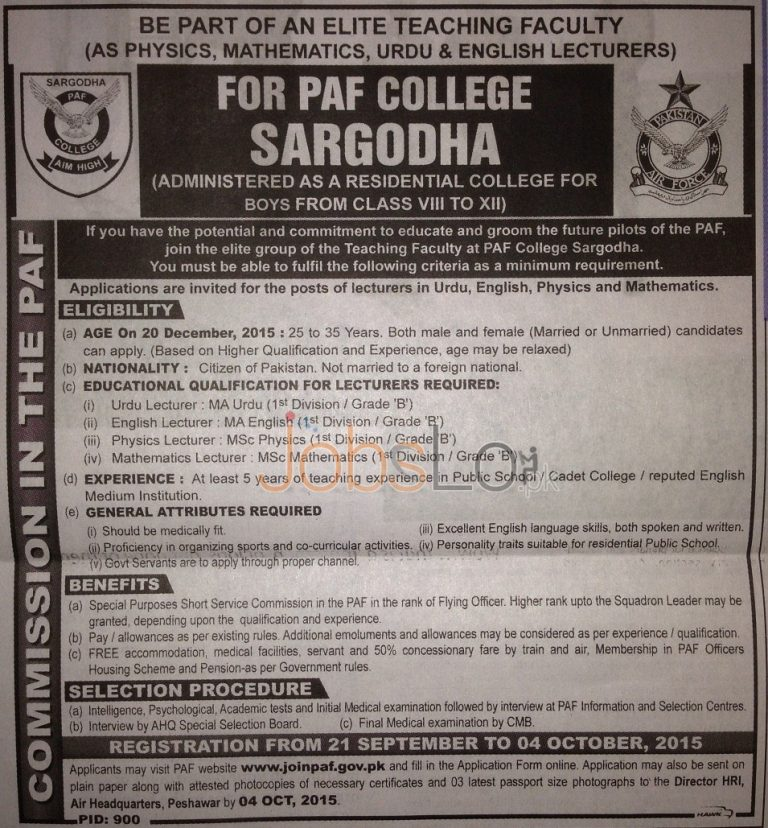 PAF College Sargodha Jobs 2015 Apply Online Latest Advertisement