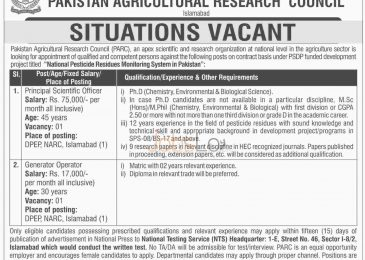 PARC Pakistan Agriculture Research Council NTS Jobs September 2015 Application Form