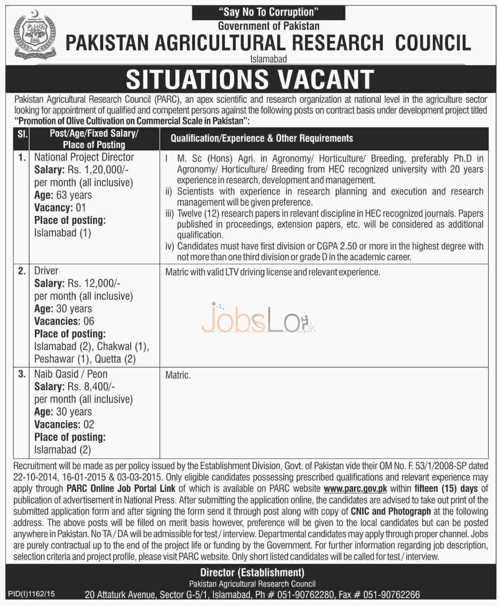 PARC Islamabad Jobs September 2015 National Project Director, Driver & Naib Qasid
