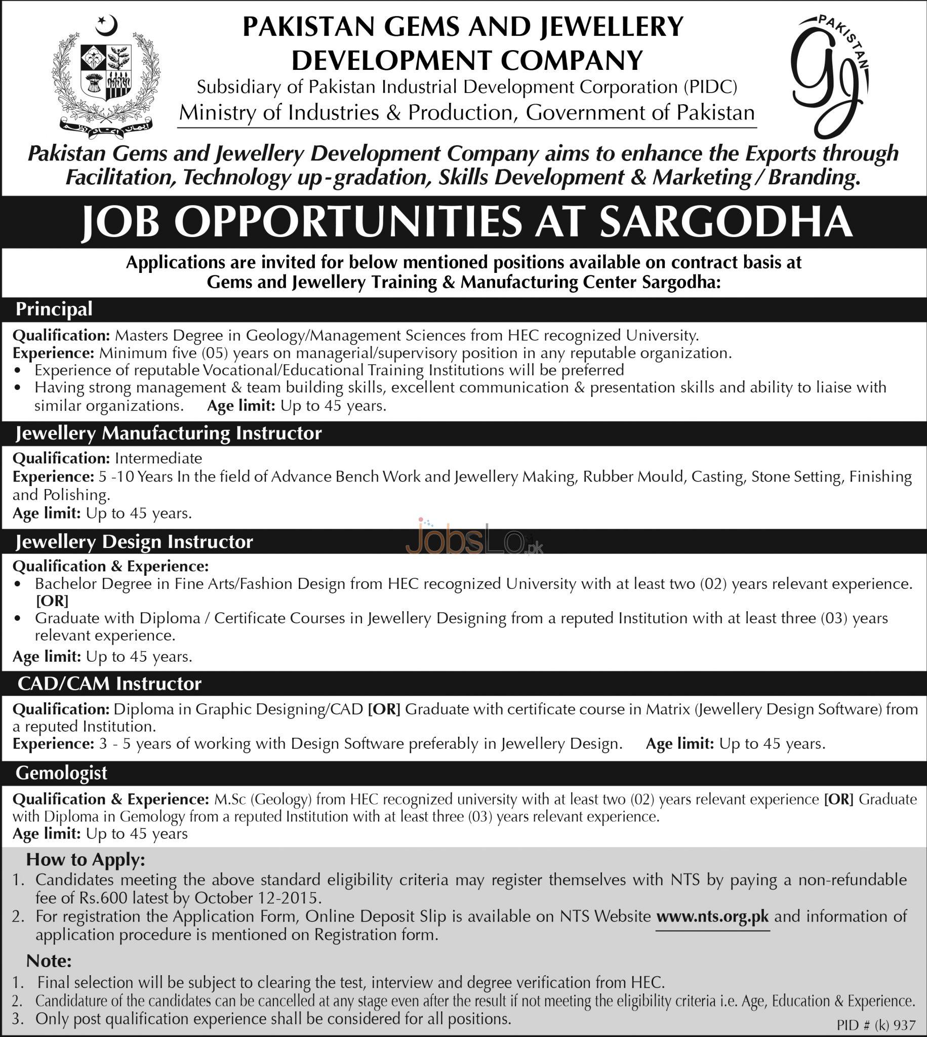PGJDC Sargodha Jobs