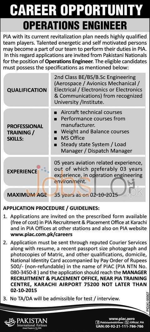 Pakistan International Airline Jobs 2015 Operations Manager Application Form