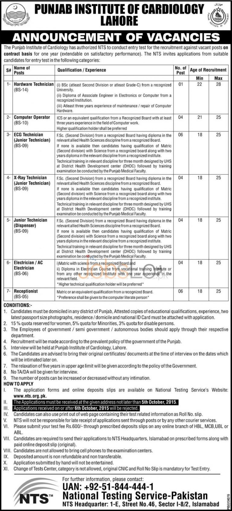 NTS Punjab Institute of Cardiology Lahore Jobs 2015 Download Application Form