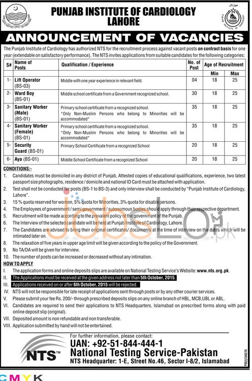 PIC Lahore NTS Jobs 2015 Application Form Punjab Institute of Cardiology