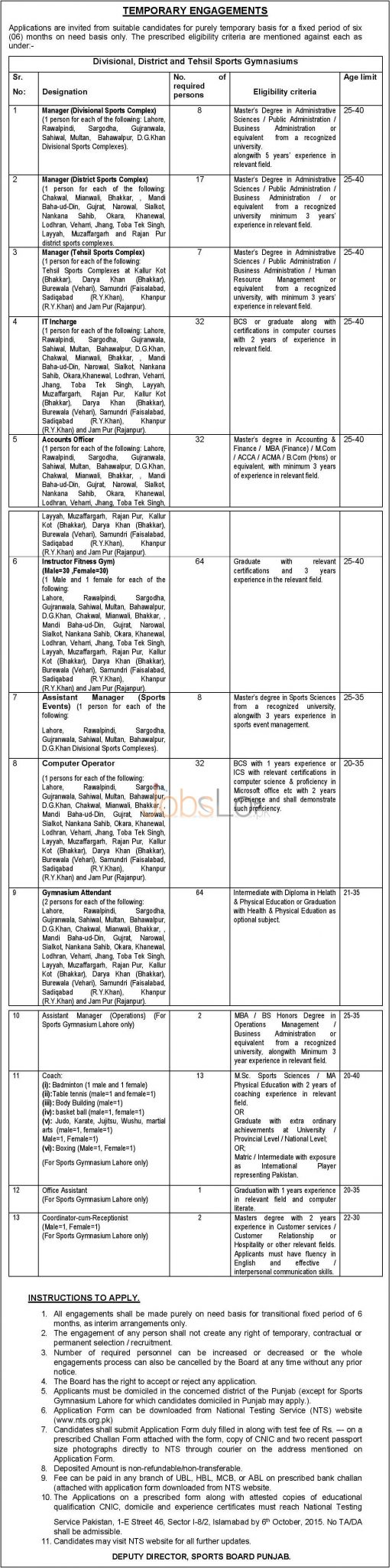 Sports Board Punjab Jobs