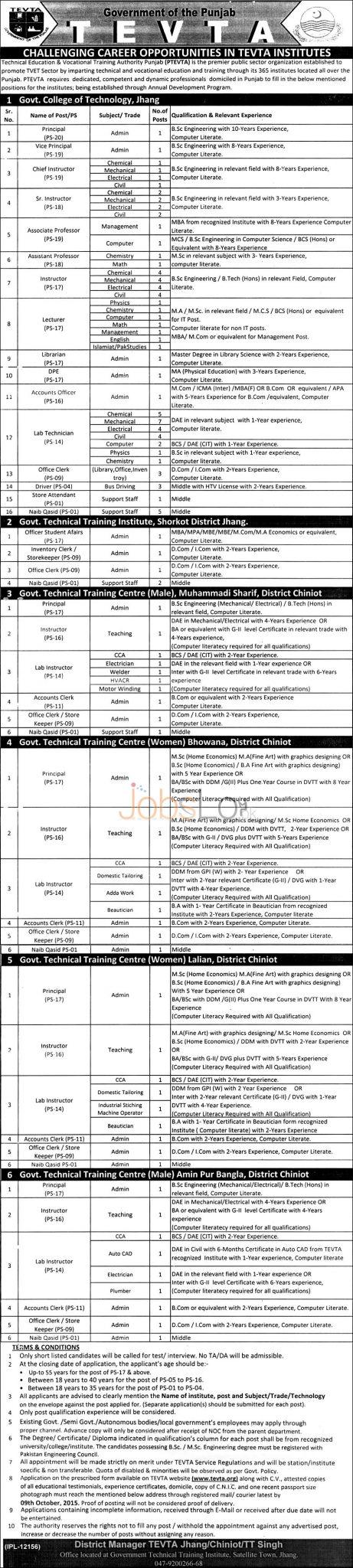 TEVTA Jobs 2015 Technical Education & Vocational Training Authority Punjab