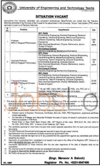 UET Taxila Jobs 2015 Application Form for Teaching Staff