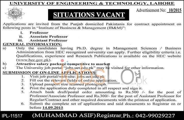 UET Lahore Jobs September 2015 Teaching Staff Apply Online