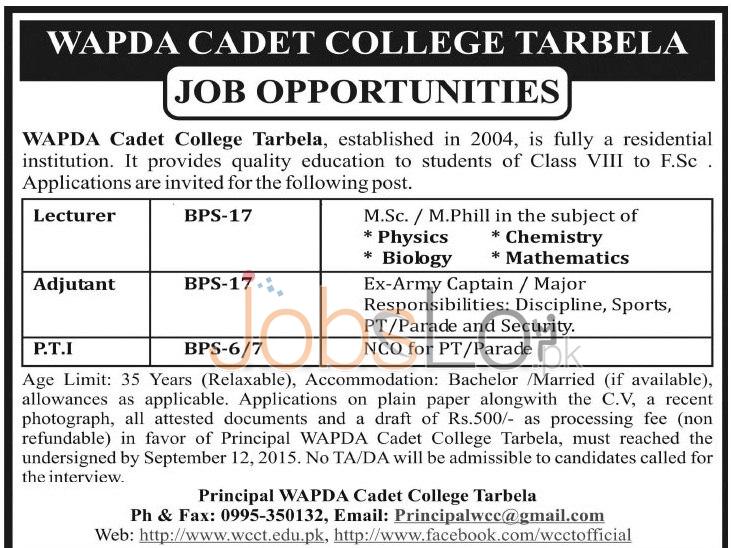WAPDA Cadet College Tarbela Jobs