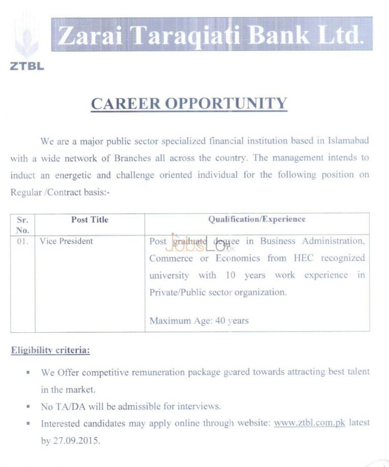 Zarai Taraqiati Bank ZTBL Jobs 2015 for Vise President Apply Online