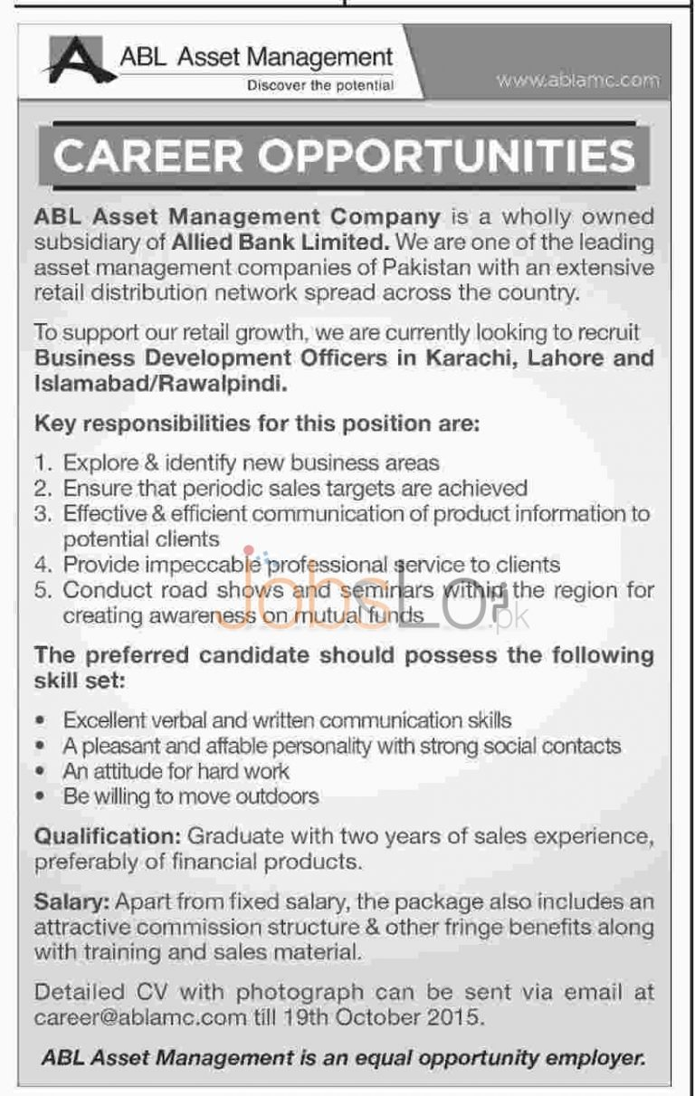 ABL Jobs October 2015 For Business Development Officers Apply Online