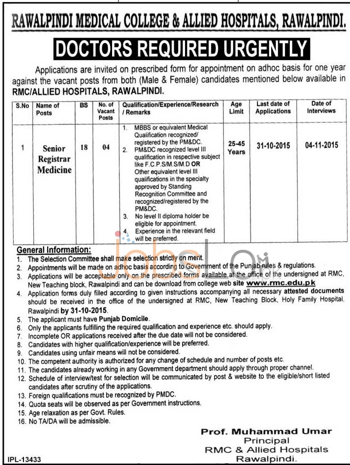Rawalpindi Medical College Jobs