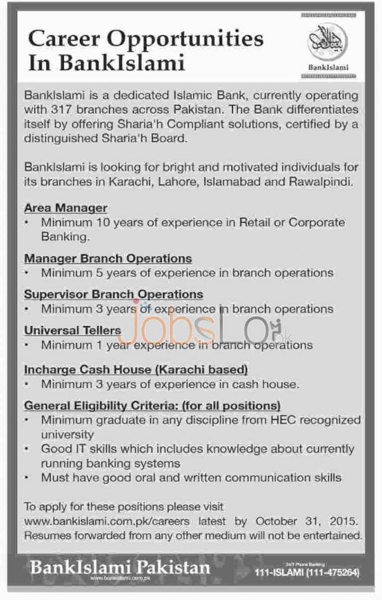 Bank Islami Jobs October 2015 Apply Online www.bankislami.com.pk/careers