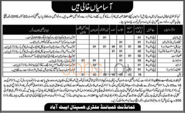 CMH Abbottabad Jobs 2015 Punjab Sindh KPK Balochistan Kashmir