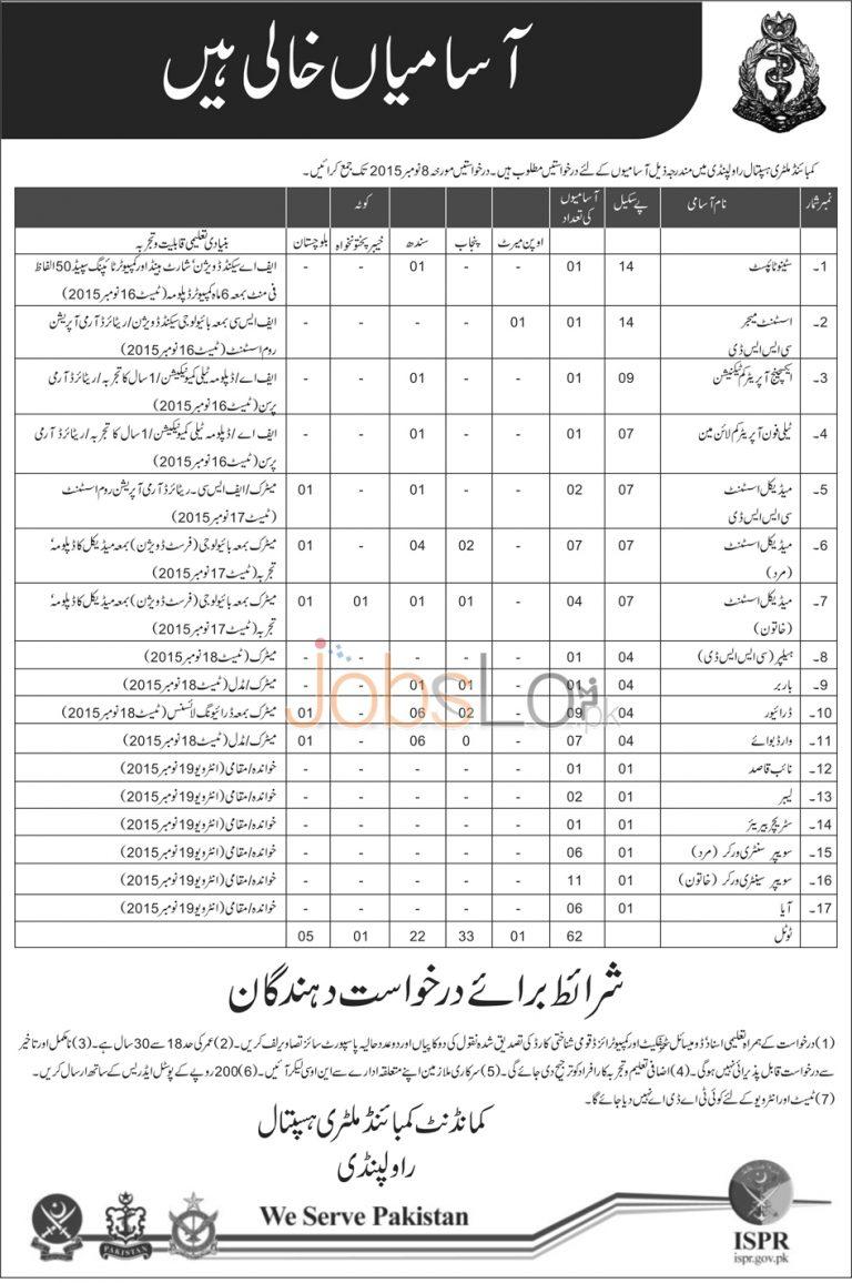 Combined Military Hospital CMH Rawalpindi Jobs October 2015 Punjab Sindh KPK Balochistan