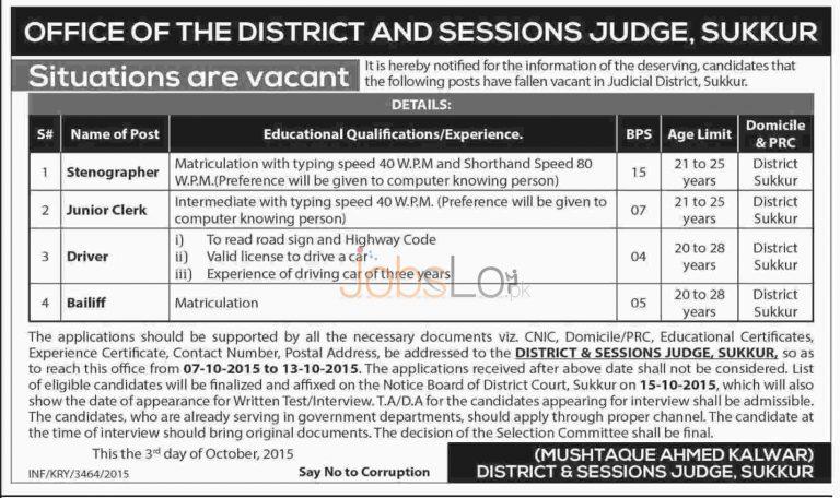 District & Session Court Sukkur Jobs 2015 Latest Advertisement