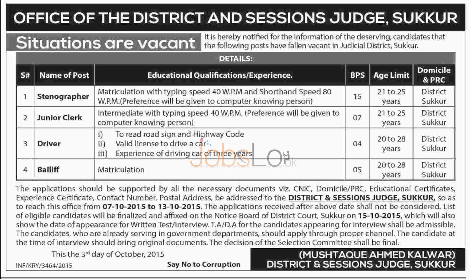 District & Session Court Sukkur Jobs