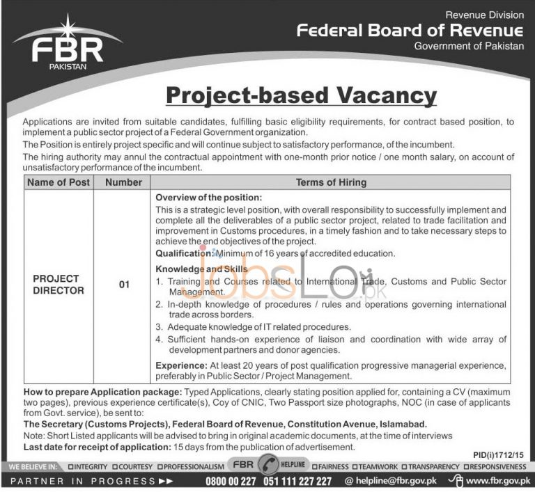 Federal Board of Revenue Jobs October 2015 for Project Director