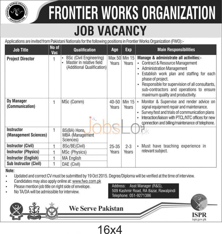 Pakistan Army FWO Jobs 2015 Apply Online Latest Advertisement