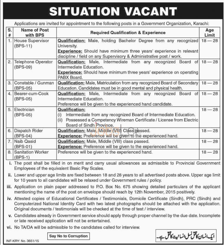 Government Organization Karachi Jobs 2015 Employment Opportunities