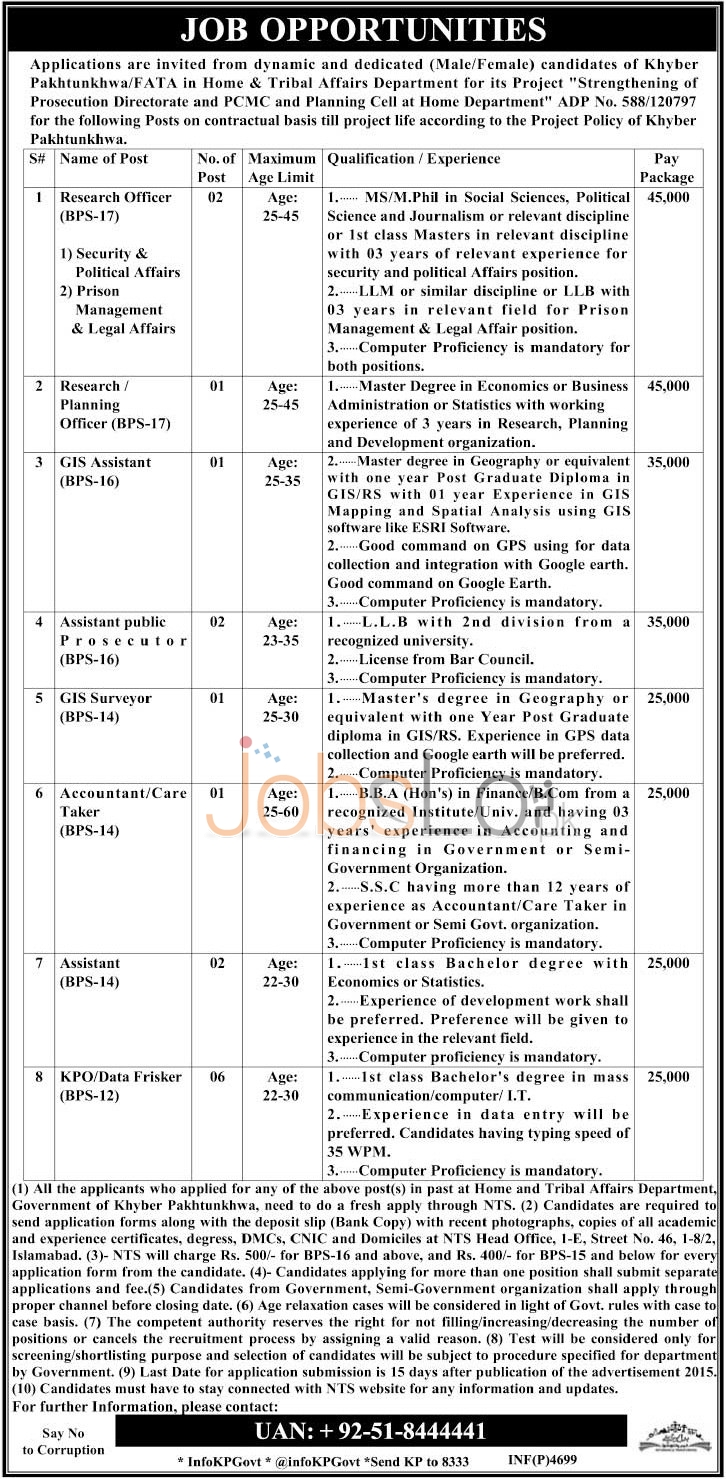 Home & Tribal Affairs Department KPK Jobs