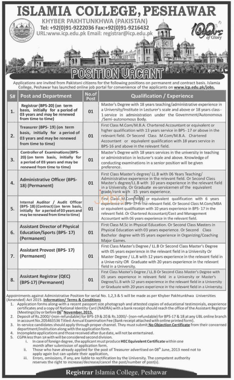 Islamia College Peshawar Jobs October 2015 Application Form Online