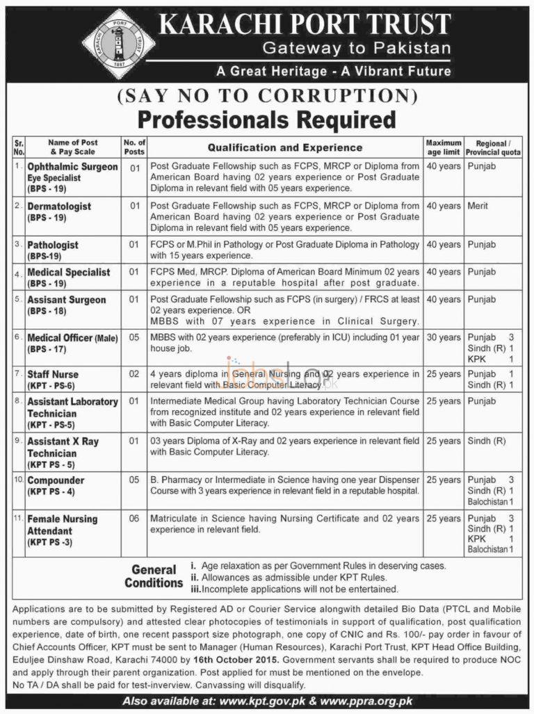 KPT Karachi Port Trust Job Vacancy 2015 Latest Advertisement