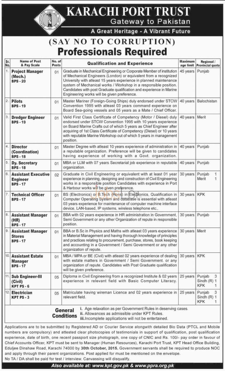 KPT Jobs October 2015 Punjab Sindh KPK Balochistan Latest Advertisement