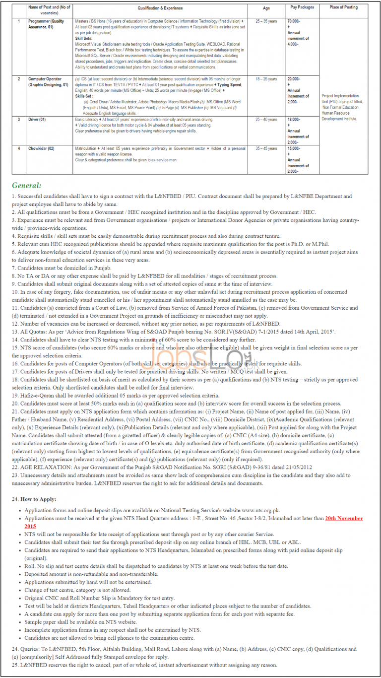 NTS Literacy & Non Formal Basic Education Jobs November 2015 Applciation Form